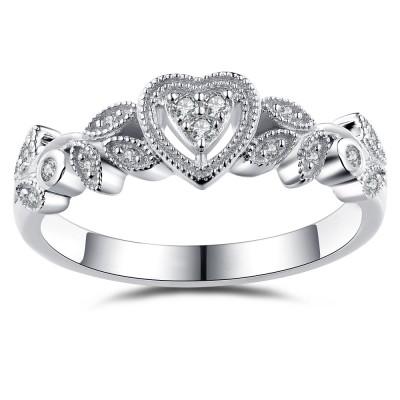 Herz Style Weißemer Saphir 925 Sterling Silber Verlobungsringe