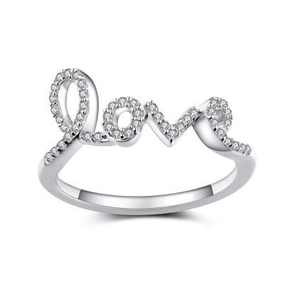 Love Weißem Saphir 925 Sterling Silber Damenring