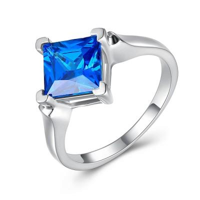 Blau Saphir Princess Schliff 925 Sterling Silber Verlobungsringe