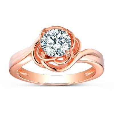 Runder Schliff aus Weißemem Saphir Sterling Silber RoséGelbgold Versprechen Ringe