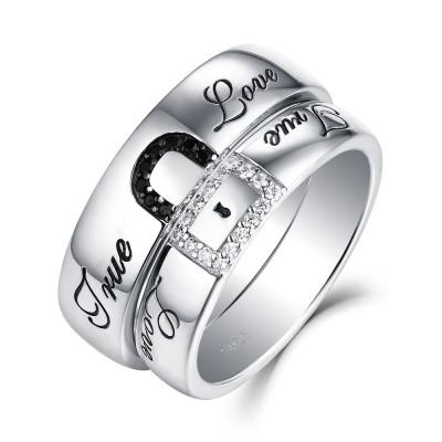 True Love Lock Weißemer und Schwarzer Saphir S925 Sterling Silber PartnerRingee