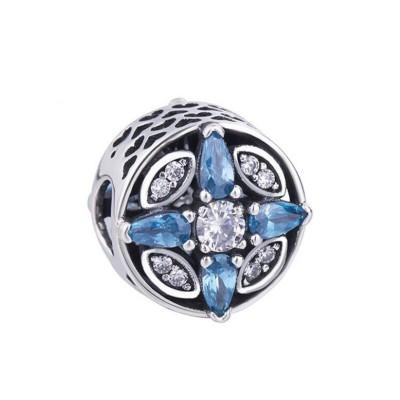 Herz mit Pear Schliff blau Zirkonia Charm Sterling Silber