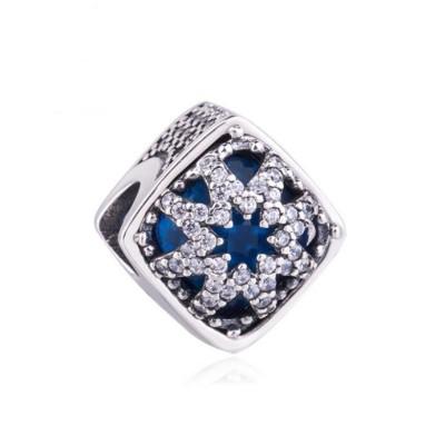 Blauer Zirkonia Charm Sterling Silber