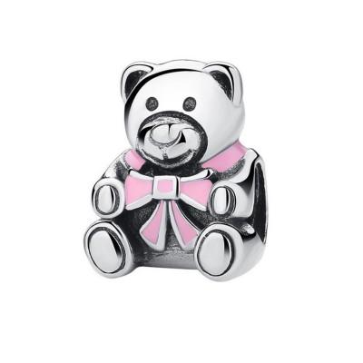 Teddybär mit rosafarbenem Bowknot-Anhänger Sterling Silber