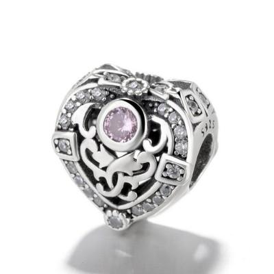Herz mit rosa Zirkonia Charm Sterling Silber