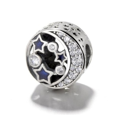 Mond & Blaue Sterne Charm Sterling Silber