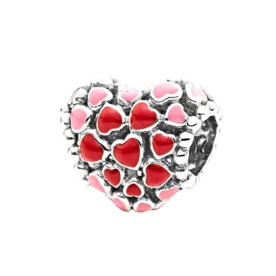 Rosa & Red Hearts Charm Sterling Silber