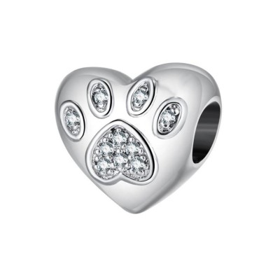 Paw Charm Heart Sterling Silber