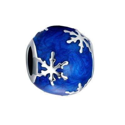 Schneeflocke blau Charm Sterling Silber