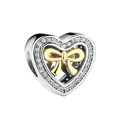 Herz Gelbgoldener Bowknot Charm Sterling Silber