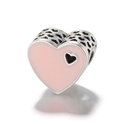 Rosa Heart Charm Sterling Silber