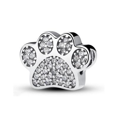 Süßes Paw Charm Heart Sterling Silber
