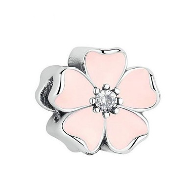 Rosa Blume Charm Sterling Silber