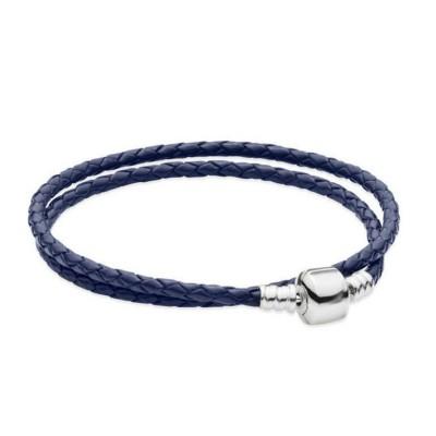 Doppelkreis Royal blau Woven Leather Charm Armbänder