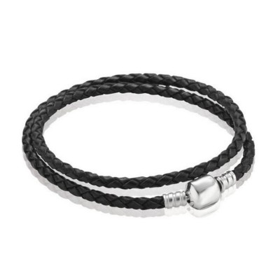 Double Circle Schwarze Woven Leather Charm Armbänder