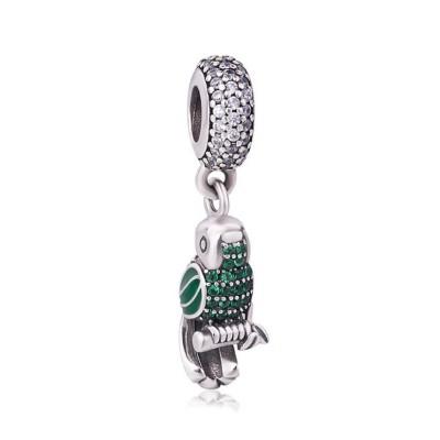 Grüner & blauer Papagei Charm Sterling Silber