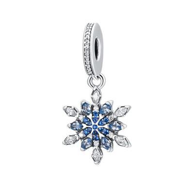 Schneeflocke mit blauem Zirkonia-Anhänger Sterling Silber