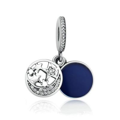 Mond & Sterne Royal blau Charm Sterling Silber