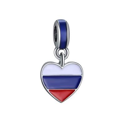 Russischer Flaggen-Anhänger Sterling Silber