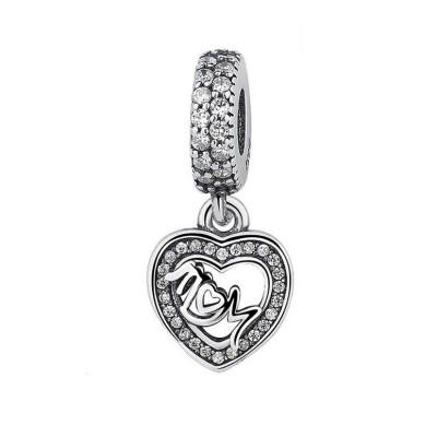 Mom & Heart Charm Sterling Silber