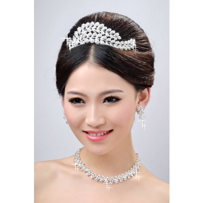 Neuer Stil schöne Legierung klare Kristalle Hochzeit Kopfschmuck Halsschmuck OhrRingee Set