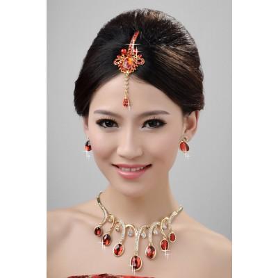 Neue stil schöne legierung kristalle perlen hochzeit kopfschmuck halsschmuck ohrringee set