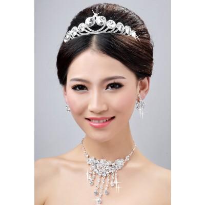 Neue stil elegante legierung klar kristalle blume hochzeit kopfschmuck halsschmuck ohrringee set