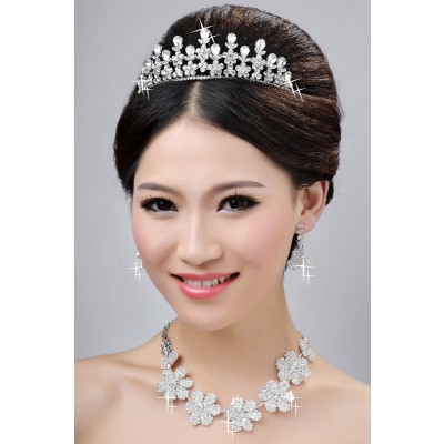 Neue stil schöne legierung klar kristalle blume hochzeit kopfschmuck halsschmuck ohrringee set