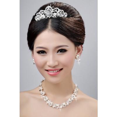 Neue stil schöne legierung klar kristalle perlen hochzeit kopfschmuck halsschmuck ohrringee set