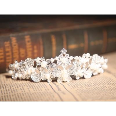 Atemberaubende Legierung klare Kristalle Perlen Hochzeit Kopfschmuck