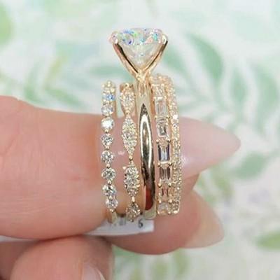 Runder Schliff Weißem Saphir 925 Sterling Silber Gelbgold Ring Sets