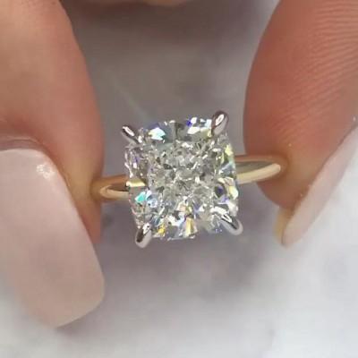 Cushion Schliff Weißer Saphir Sterling Silber Gelbgold Verlobungsringe