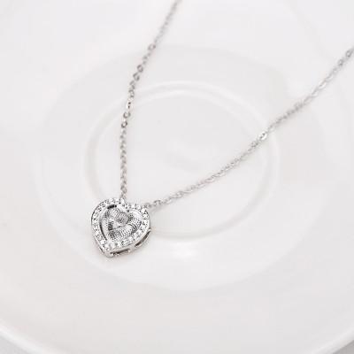 Herz zu Herz S925 Sterling Silber Halsschmuck