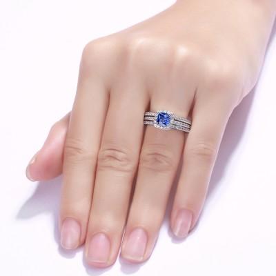 Kissen Schliff 925 Sterling Silber saphir 3-steine Halo Ringe