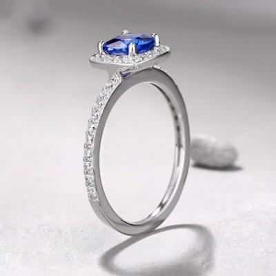 Princess Schliff 925 Sterling Silber saphir Halo Verlobungsringe