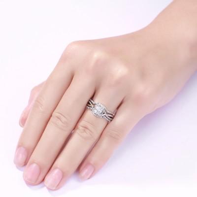 Princess Schliff S925 Sterling Silber Weißemer Saphir 3-Stern Halo Ringe