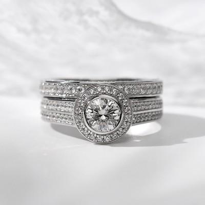 Runder Schnitt Weißer Saphir 925 Sterling Silber Halo Ringe Set