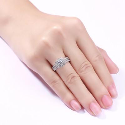 Runder Schliff aus Weißemem Saphir 3-steine 925 Sterling Silber Halo Ringe