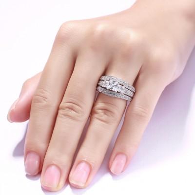 Princess Schliff S925 Sterling Silber Weißemer Saphir 3-Zirkonia 3-steine Ringe