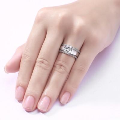 Princess Schliff Weißem Saphir S925 Sterling Silber 3-steine Ringe