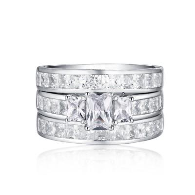 SmaragdSchliff S925 Weißem Saphir 3-Zirkonia 3-steine Ringe