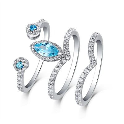 Marquise Schliff Aquamarine & Weißem Saphir S925 Sterling Silber 3-steine Ringe