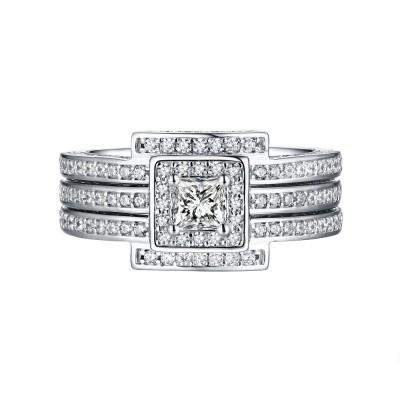 Princess Schliff Weißem Saphir 925 Sterling Silber 3-Stern Halo Ringe