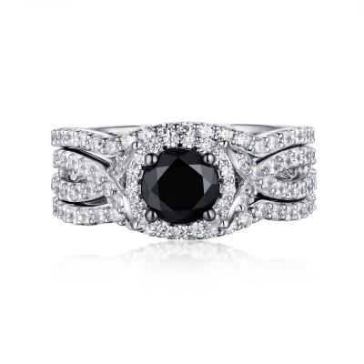 Schwarzer und Weißemer Saphir S925 Sterling Silber Halo 3-steine Ringe