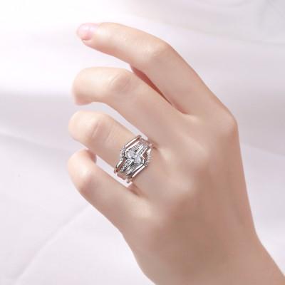 Marquise Schliff S925 Sterling Silber Weißemer Saphir 3-steine Ringe
