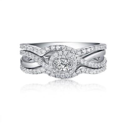 Runder Schliff aus Weißemem Saphir S925 Sterling Silber Halo 3-steine Ringe