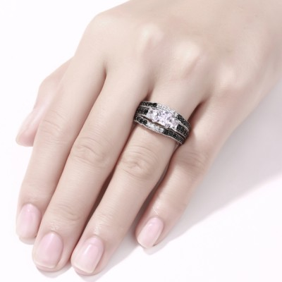 Kissen Schliff Schwarze & Weißem Saphir S925 Sterling Silber 3-Zirkonia 3-steine Ringe