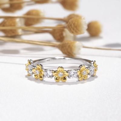 Runder Schnitt Weißer Saphir Gold Blume Zweifarbig 925 Sterling Silber Ringe Set