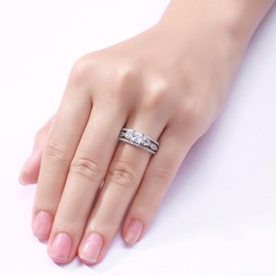 Princess Schliff S925 Sterling Silber Weißemer Saphir 3-Stern 3-Zirkonia Ringe
