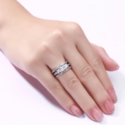 Princess Schliff 925 Sterling Silber Weißem Saphir 3-Stern 3-Zirkonia Ringe